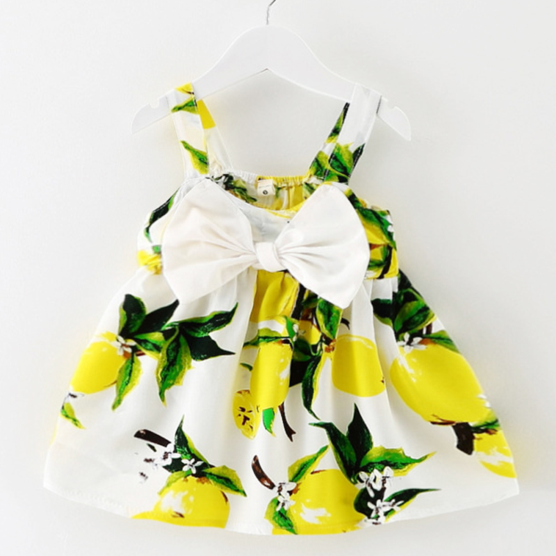 2018 Summer New Style Novelty Gauze Girl's Children's Clothes Sleeveless Lemon Sling Dress Cotton Vest Princess Dresses