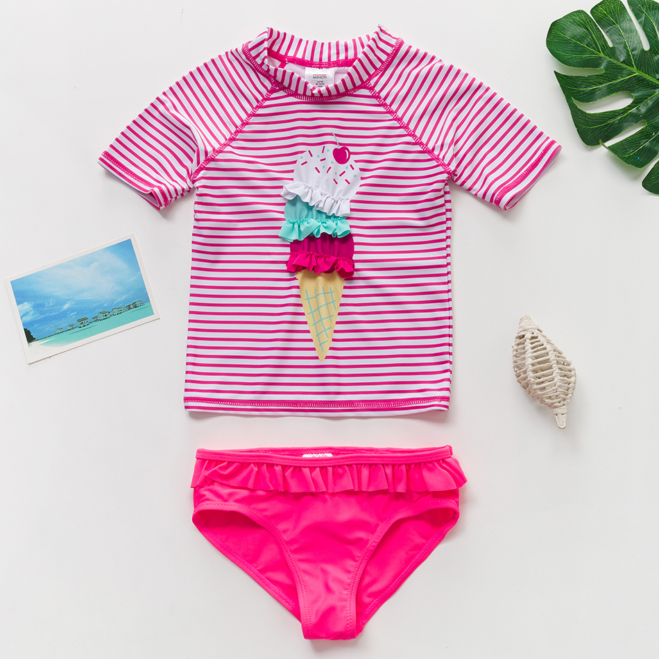 New 2020 Baby Girls Swimsuit Ice Cream One Pieces Children's Swimwear Summer Princess Unicorn Beachwear Bathing Suit