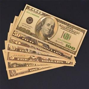 Золотые украшения, американские Золотые банкноты 1/2/5/10/20/50/100 долларов, цветные Золотые Фольга, купюры, Модные металлические украшения