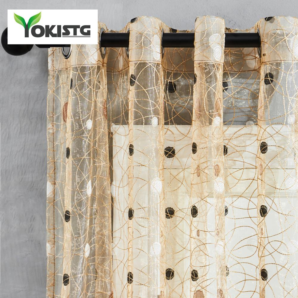 YokiSTG Voile Sheer Curtains Bird's Nest Dots Curtain For Kitchen Living Room Bedroom Elegant Tulle For Windows Treatment Panel
