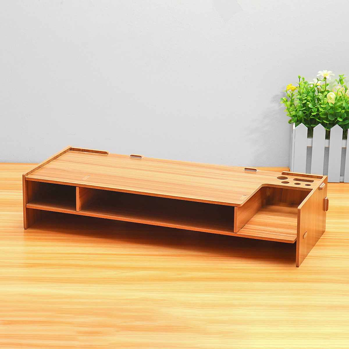 2-Tier Wood Shelf Plinth Multi-function Desktop Monitor Stand Computer Screen Riser Laptop Stand Holder For Notebook TV