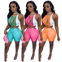 Пикантный Женский комплект из двух предметов, укороченный топ без рукавов с перекрестной завязкой и брюки, цветная уличная одежда в стиле п...