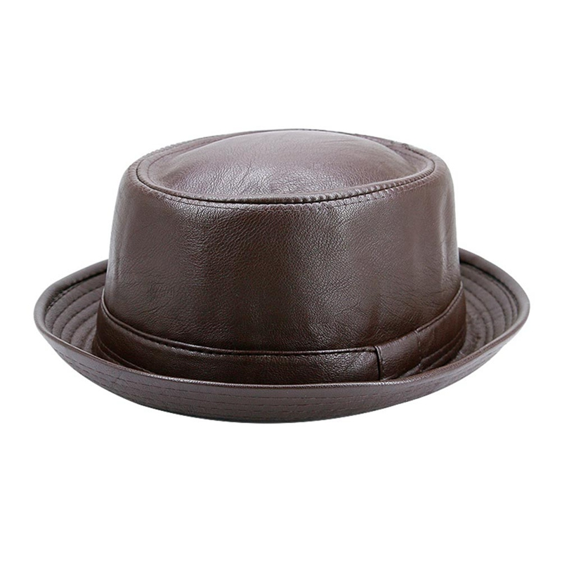 Hat Pork Pie Bowler Gentleman Top-Hat Size Fashion Men for Dad Fedora Flat Balck title=