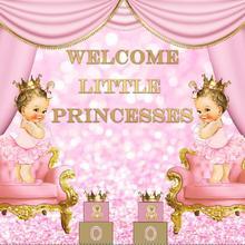 Backdrop Welcome Princess Twins Photo-Studio Vinyl Baby Shower Little Girl Custom Curtain