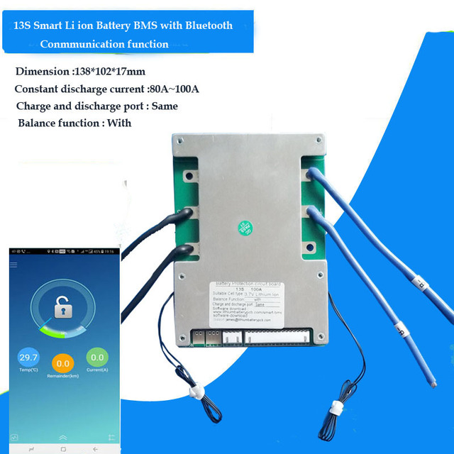 48v 100A החכם BMS עם Bluetooth ומחשב תקשורת עבור 54.6V ליתיום 18650 סוללות של חשמלי אופנוע li PCB לוח