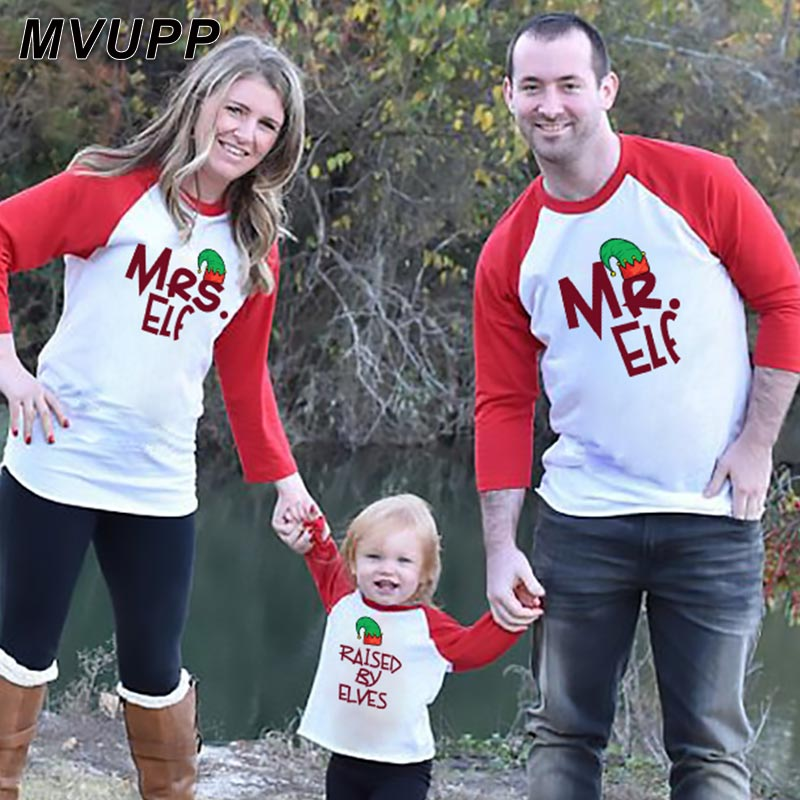 Mr Mrs Elf Elves Family Matching Outfits Daddy Mommy And Me Long T Shirt Patchwork Fashion Winter Tops Tee Christmas Look Mama