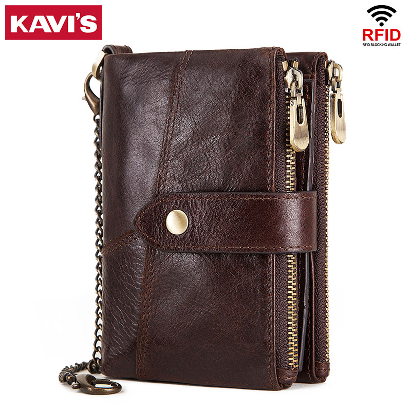 KAVIS Brand Genuine Leather Men Wallets Luxury Credit Cards Coin Purse Male Small Walet Portomonee Rfid Mini PORTFOLIO Perse