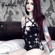 Fitshinling Goth Dark Pentagram Strap Bodysuits Black White Print Sexy Body Jumpsuits Women Gothic Slim Bodysuit Femme Sale