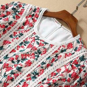 Image 3 - Laço costura manga floral hobo vestido 2020 primavera e verão nova alta qualidade das mulheres praia casual festa longo vestido