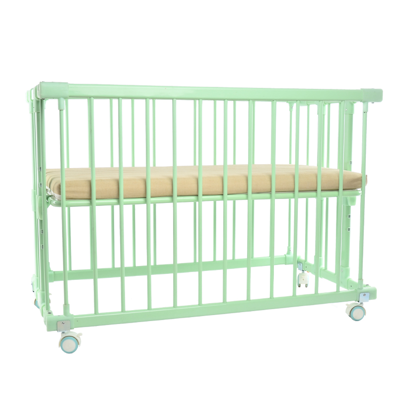 New Arrival Aluminum Alloy Frame Baby Bed With Coir Mattress, Baby Crib Can Joint With Adult Bed, 4 Lockable Wheel Baby Cot