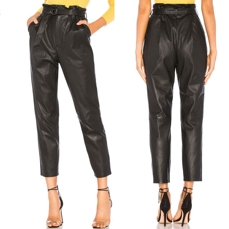 Women's Front Pencil Trousers ZANZEA Stylish PU Leather Pants Belted High Waist Pantalon Stretch Ruffle Turnip Plus Size 7