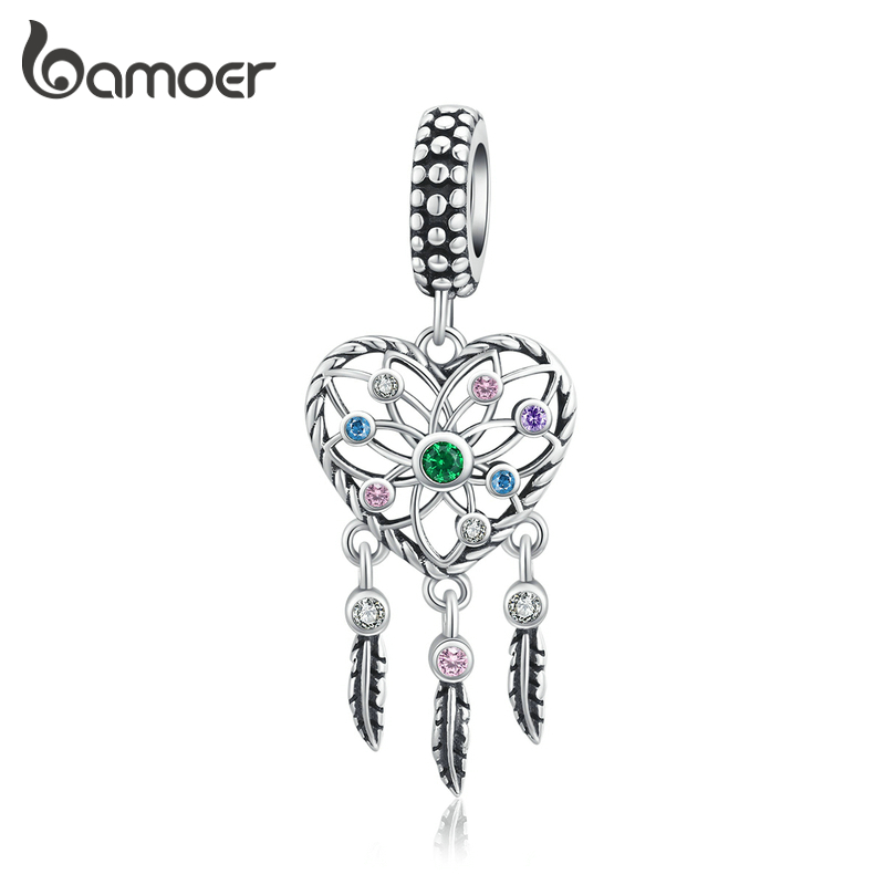 Bamoer Dream Catcher Pendant Charm Fit Original Silver Bracelet 925 Sterling Silver Fashion DIY Jewelry  Making SCC1445