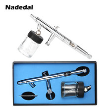 Nasedal 0.5mm 22cc Siphon Feed Dual-Action Airbrush Kit Set voor Art Craft Schilderen Auto Verf Hobby Air borstel Nail(China)