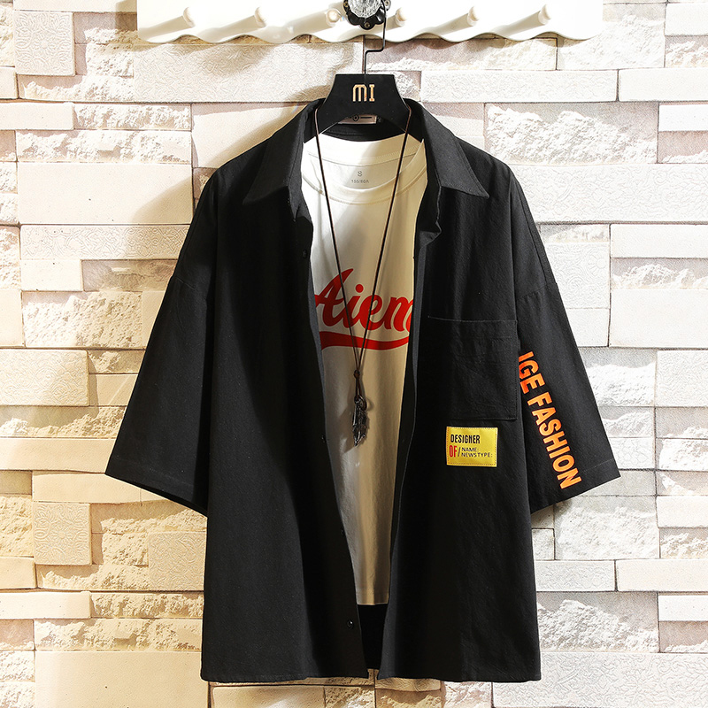 2020 Brand Summer Hot Sell Men's Beach Shirt Fashion Black White Short Sleeve Loose Casual Shirts Plus OVERSIZE M-4XL 5XL