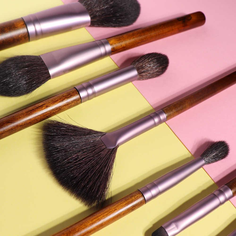 Hoge Kwaliteit 9Pcs Makeup Brush Set Natuurlijke Houten Handvat Geitenhaar Poeder Blush Oogschaduw Make-Up Kwasten voor Make up beginner