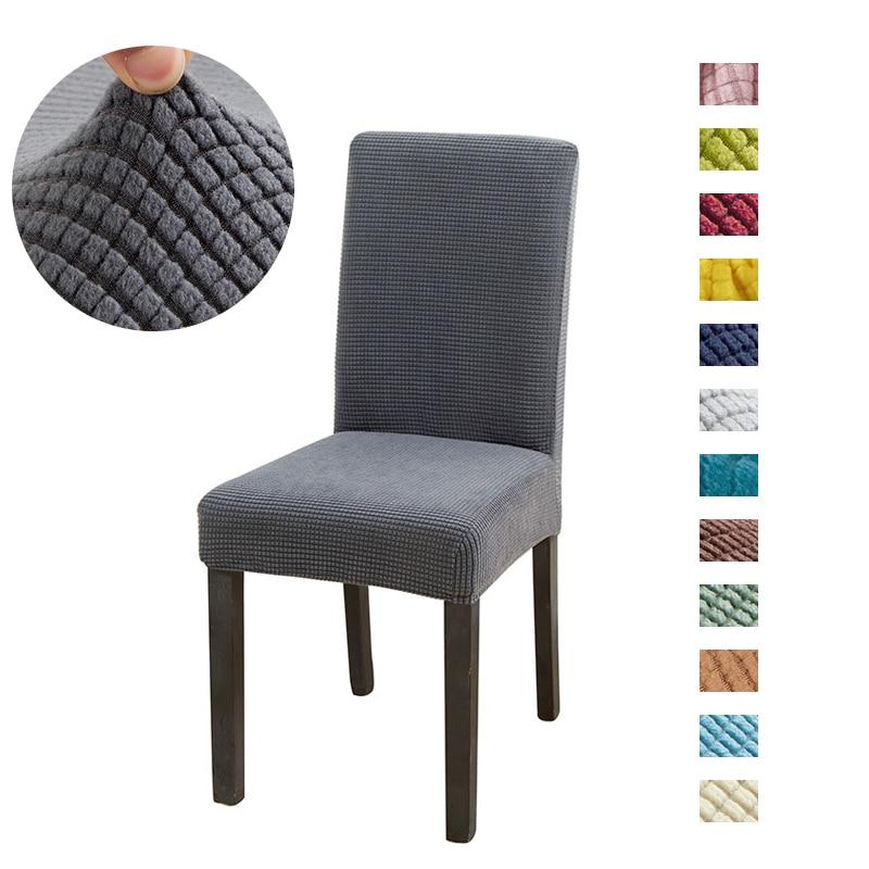 Sólido jacquard cadeira cobre elastano para casamento sala de jantar escritório banquete housse de chaise cadeira capa