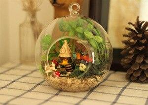 Image 5 - DIY Glass Ball Doll House Cute Totoro Dollhouse Model Kits Handmade Wooden Miniature Assembling dollhouse Toy Kids Birthday Gift
