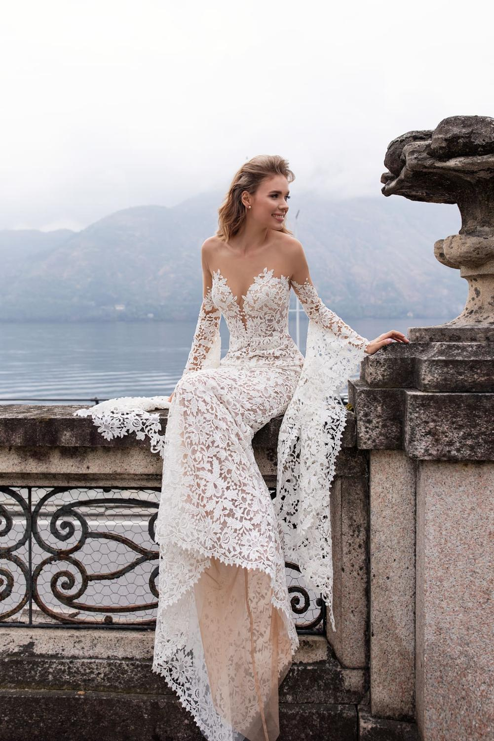 Image 3 - New Arrival Fashion Lace Mermaid Wedding Dresses With Flare Sleeves 2019 Backless Sweep Train Bride Dress Bridal Wedding Gowns-in Wedding Dresses from Weddings & Events