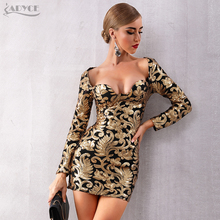 Adyce 2020 New Autumn Women Gold Celebrity Evening Party Dress Elegant Sexy Long Sleeve Sequined Deep V Mini Club Dress Vestidos