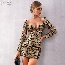 Adyce 2020 nowa jesienna kobiety złote suknie wieczorowe w stylu gwiazd elegancka seksowna z długim rękawem cekinami głębokie V Mini sukienka klubowa Vestidos
