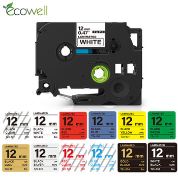 Ecowell 12mm Laminated Adhesive Compatible for TZ 231 Tz231 label tape compatible for Brother P Touch tz231 tz-231 131 221 631 1
