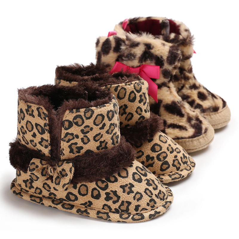 Infant Boots Shoes Baby Boy Girl Winter Velvet Bow Leopard Print Indoor Booties Toddler First Walkers Baby Shoes