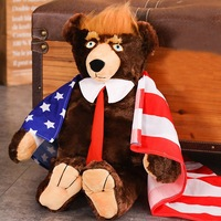 2019 New 60cm Trump Plush Stuffed Toy Bear Plush Toys Cool USA President Bear With Flag Cute Animal Bear Dolls Kids Gifts