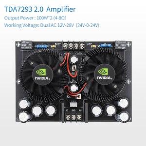 Image 2 - UNISIAN TDA7293 2.0 ערוצים אודיו מגבר כוח Class 100W * 2 מתח גבוה HIFI דיגיטלי מגברי לוח קירור מאוורר