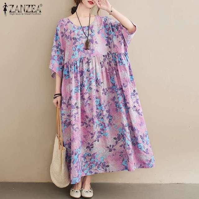ZANZEA Women Vintage Floral Printed Long Dress Summer Half Sleeve Baggy Beach Vestidos Plus Size Casual Loose Sundress Femme 1