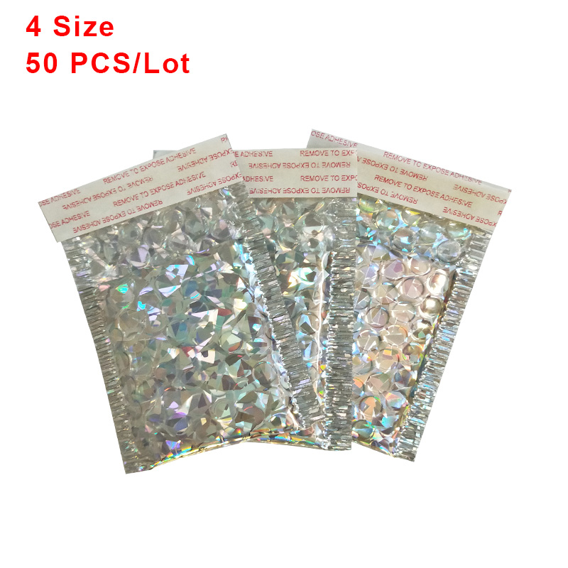 50 PCS/ Lot Holographic Aluminized Bubble Bag Thicken Envelope High-end Co-extruded Film Clothing Express Foam Envelopes