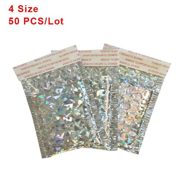 50 pz/lotto Olografica Bolla Alluminato Bag Addensare Busta Della Bolla High end Co estruso Abbigliamento Pellicola Espresso Schiuma Buste