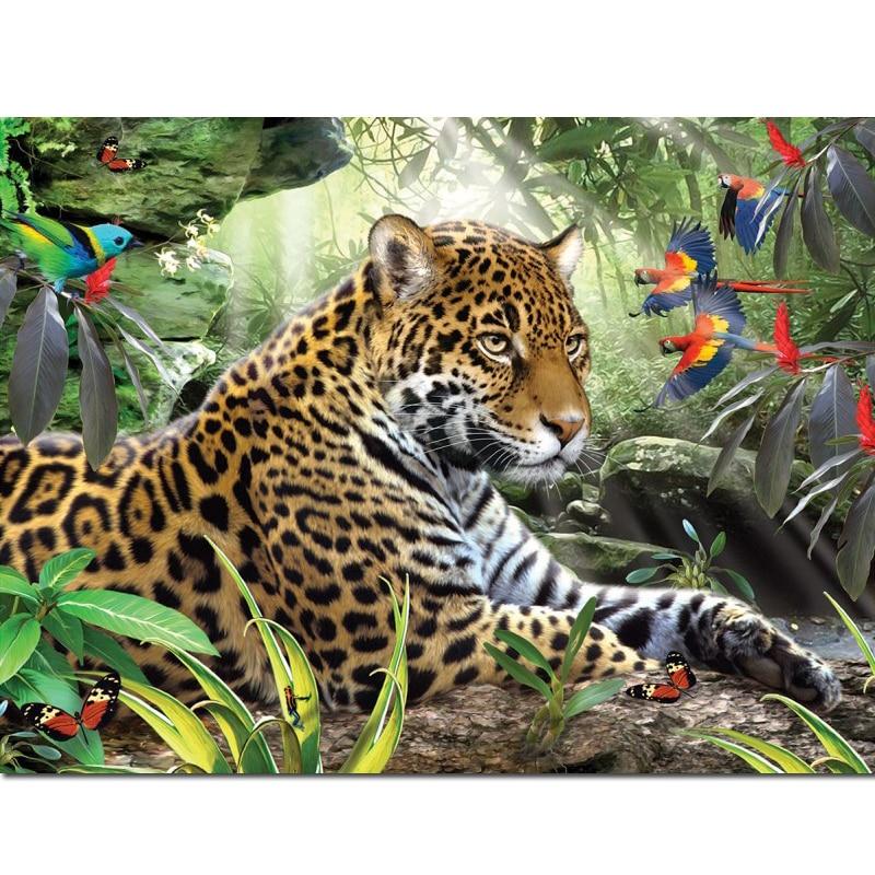 Diy diamante del bordado de la pintura de Tigre con diamantes Animal 5D DIY diamante mosaico bitCat paisaje lleno cuadrado redondo decoración N319 HOMFUN taladro cuadrado/redondo completo 5D DIY pintura de diamante