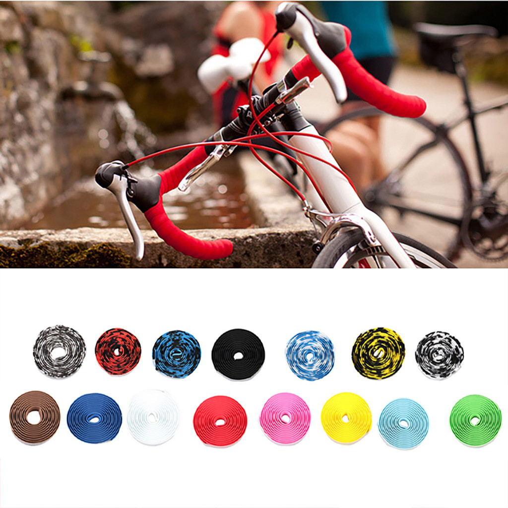 1 Pair 15 color Bicycle Handlebar Tape Sponge Colour for Anti-skid and Shock Absorption Bicycle Road Handlebars Cover Bike tools
