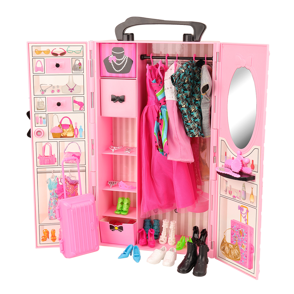 Newest Fashion Handmade High Quality 44 Items Dollhouse Accessories Wardrobe Shoes Clothes Trunk For Barbie Ken Dolls DIY Gift