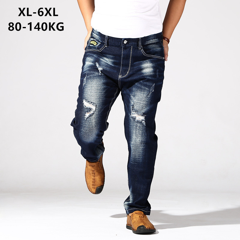 Distressed Jeans Mens Dark Blue Trousers Men's Ripped Jean Hole Denim Elastic Oversize Big Plus Size 5XL 6XL 140KG Pant Clothes