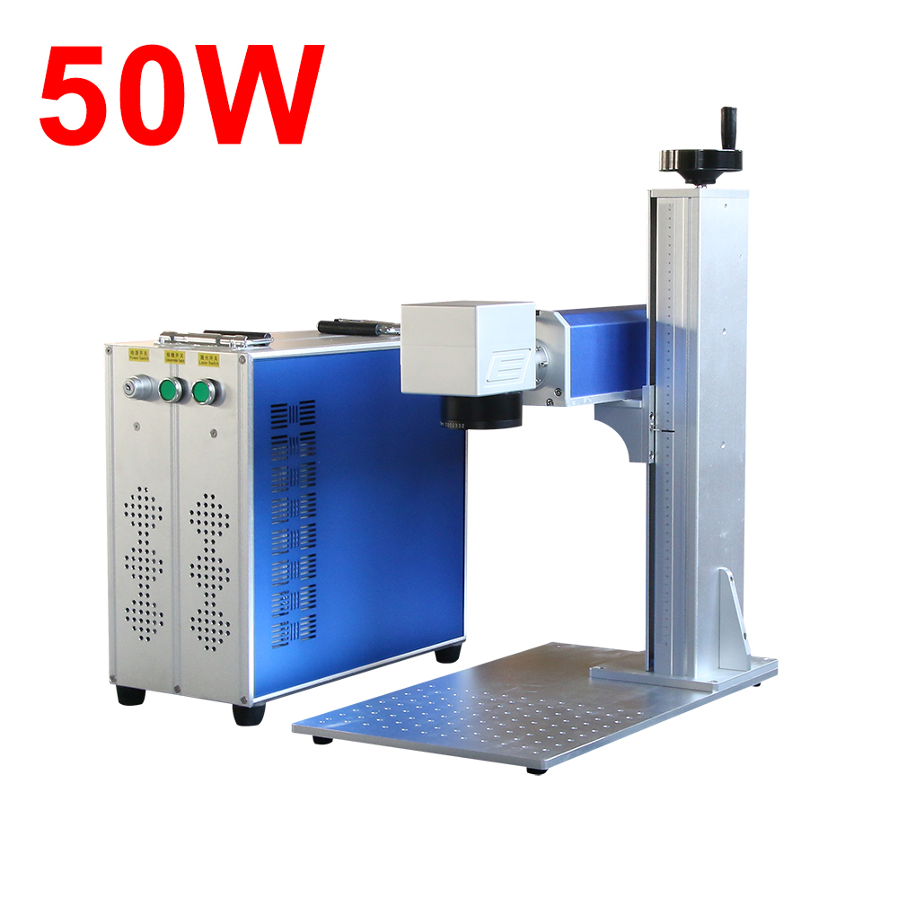 50W Raycus Fiber Laser Metal Laser Engraver Machine With Ring Rotary Device For Rings Jewelry Bracelet