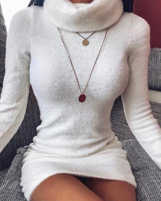 Autumn and Winter Women's High Neck Long Sleeves Slim Thin Hip Dress Warm Sweater 4