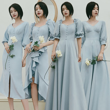 Bridesmaid Dress Party-Gown Robes-De-Soriee Long-Sleeves Mismatched Blue New Windsor