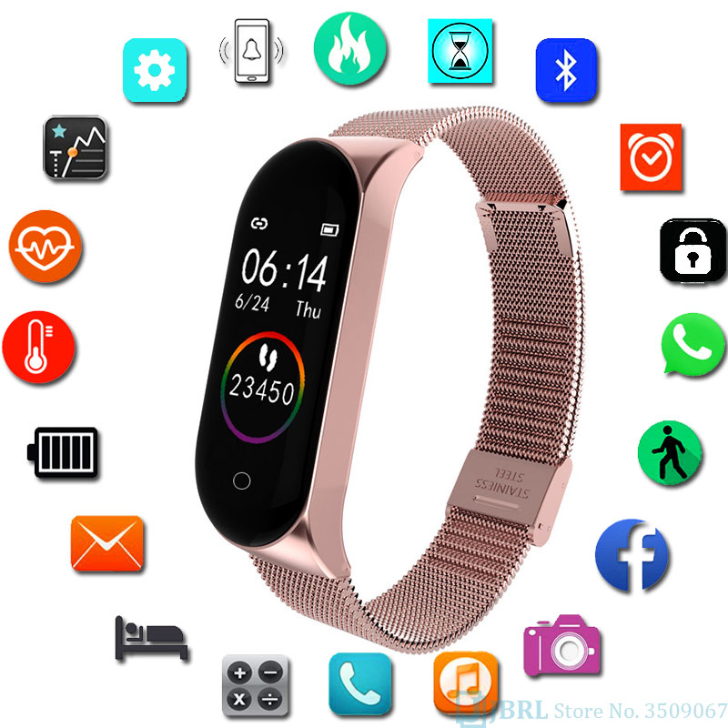 Fashion Stainless Steel Smart Watch Women Men Ladies Wrist Watch For Andriod Ios Smart Clock Fitness Tracker Sport Smartwatch