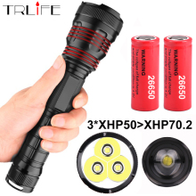 3*XHP50 most powerful LED Flashlight Waterproof XHP70.2 Linterna LED Torch Use 18650 or 26650 Rechargerable Battery Best Camping dark soul led flashlight powerful torch linterna 26650 18650 rechargeable battery xm l2 linterna waterproof portable torch lamp