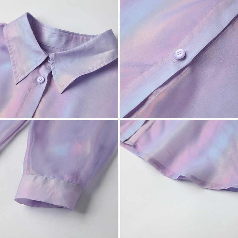 HELIAR bahar kadın parlayan parıltı ile bluz gömlek düğmeli yarım kollu şifon gömlek şeffaf seksi kadınlar için bluzlar