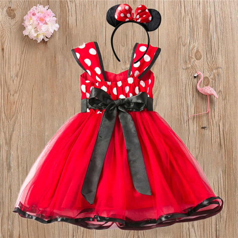 Girls Dress For Baby Kids Cosplay Party Dress Up 1-5 Years Toddler Children Polka Dots Birthday Princess Costume 1