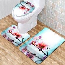 Bath-Mats-Set Carpet Toilet-Lid-Cover Living-Room Bathroom Rug-Set Doormats Anti-Slip