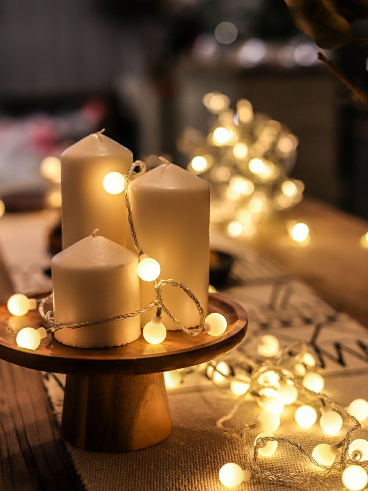 LED Ball Garland String Light Christmas Holidays Lighting Fairy Lights Outdoor Battery Party Wedding Xmas Decoration Night Lamp