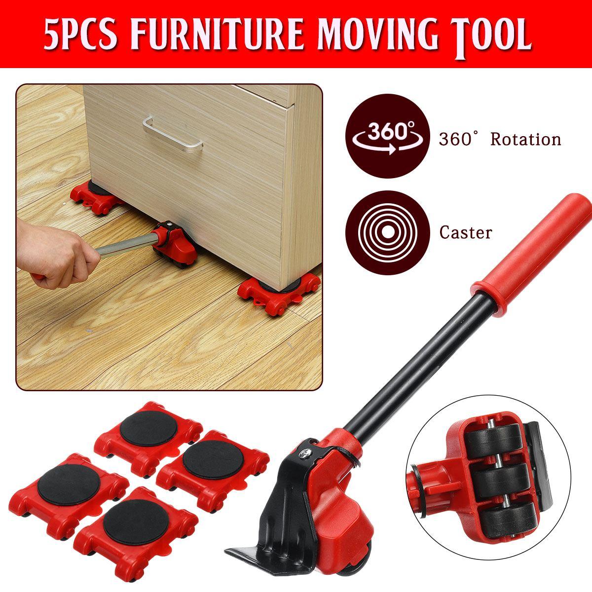 Сверхмощный подъемник для мебели, транспортный инструмент, набор для перекачки мебели, 4 подвижных ролика, 1 колесная планка для подъема под...