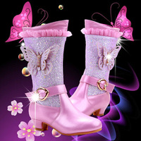 2019 New Kids Boots Girls Snow Anna Elsa 2 Princess Warm Winter Boots for Girls Shine 3D Butterfly Fashion Children Heels Shoes