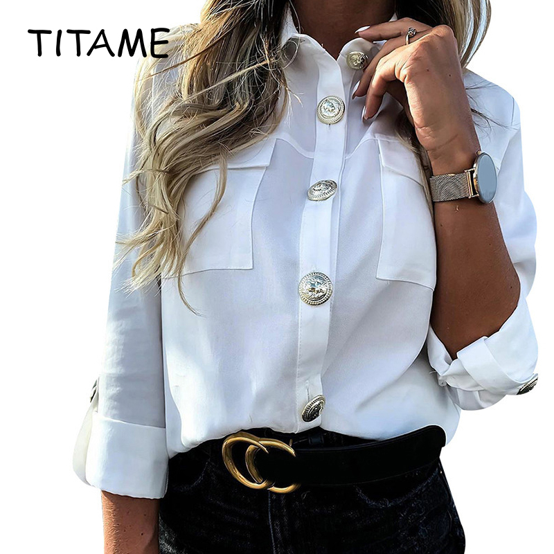 TITAME Women Blouse Shirt Top Ladies Casual Button Blouse Blusa Feminina Women Shirts With Pocket Blouse Offices Lady Blouse
