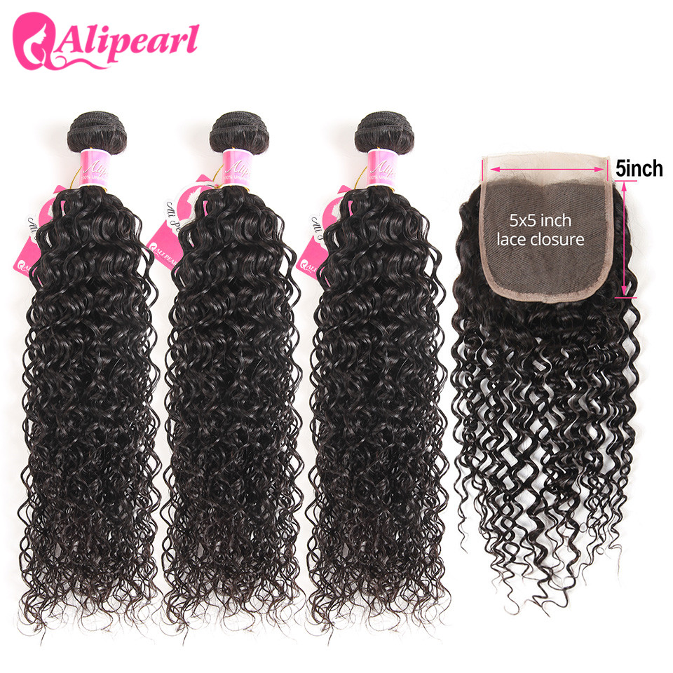 Curly Bundles With 5x5 Closure Free Part Brazilian Kinly Curly Human Hair 3 Bundles With Closure Remy AliPearl Hair Extension