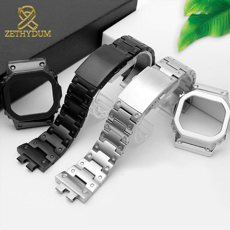 Bracelet de montre en acier inoxydable massif pour bracelet de montre casio GMW-B5000 et boîtier bracelet de montre de remplacement en métal massif