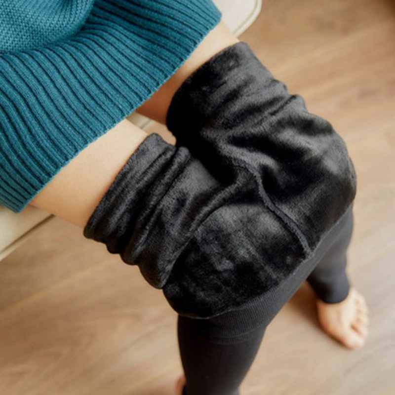 Fashion Stretchy Winter Fleece Leggings Women Thick Warm Cotton Liner Plus Velvet Pants Female High Waist Trample Feet Leggings
